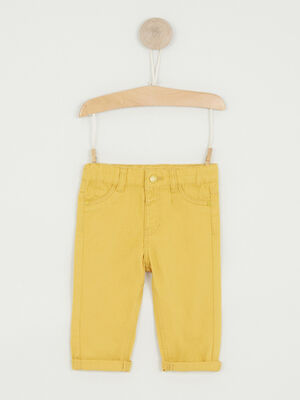 Pantalon uni coupe droite jaune garcon