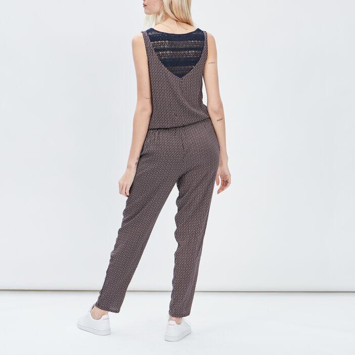 Combinaison pantalon droite femme orange foncé