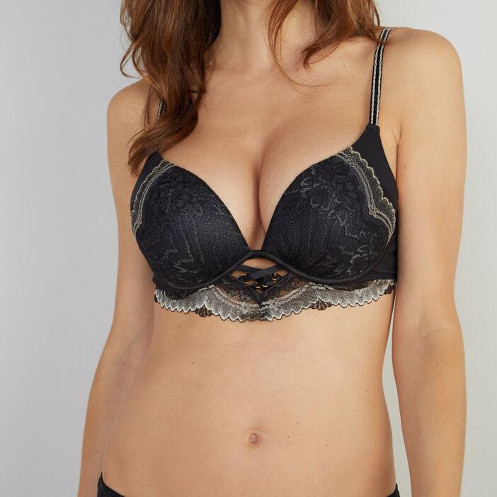 Soutien-gorge maxi push-up dentelle Flat femme noir