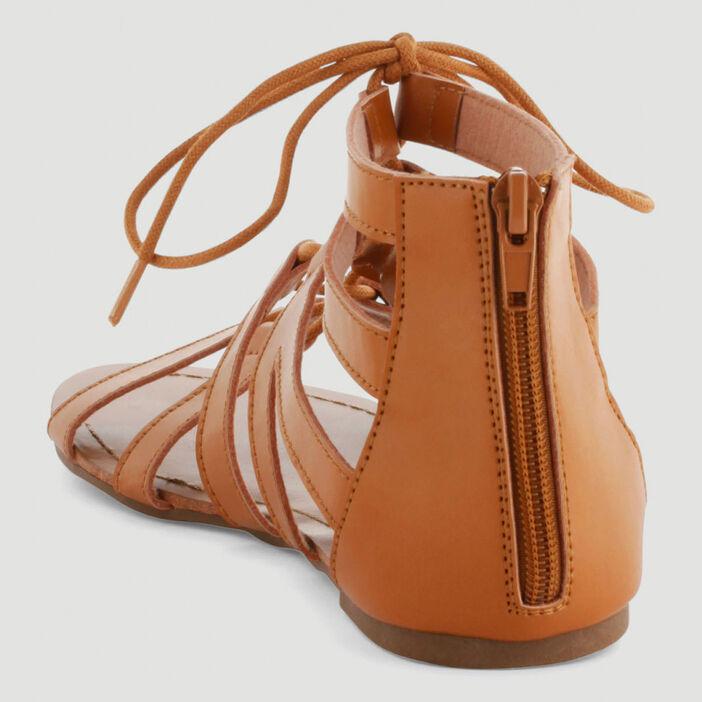 Sandales spartiates lacées femme marron