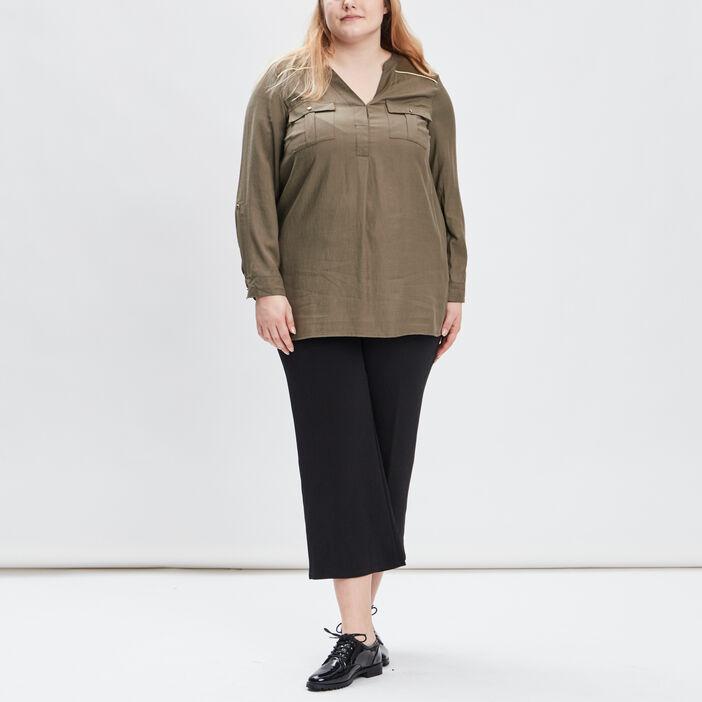Blouse grande taille femme grande taille vert kaki
