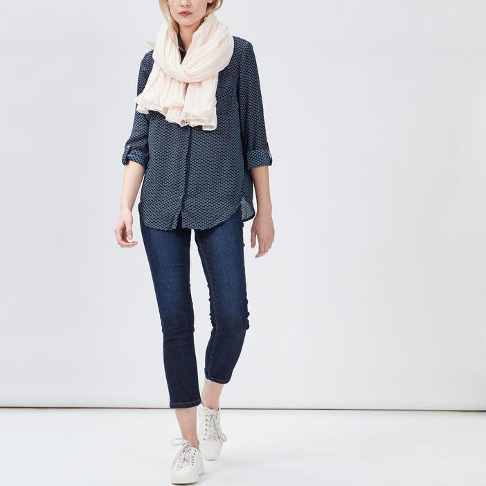 Chemise manches 3/4 femme bleu canard
