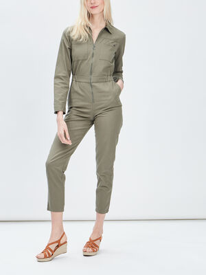 Combinaison pantalon zippe vert kaki femme