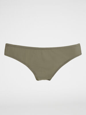 Culotte unie voile vert kaki femme