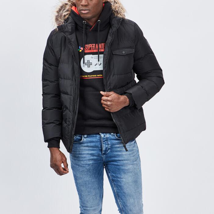 Doudoune droite à capuche homme noir