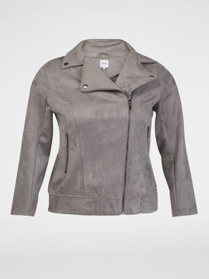 Veste stretch esprit motard gris fonc femme