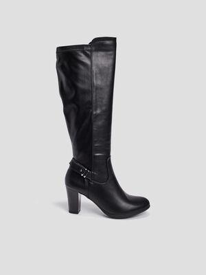 Bottes zippees a boucle noir femme