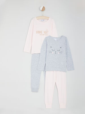 Lot de 2 pyjamas longs rose fille
