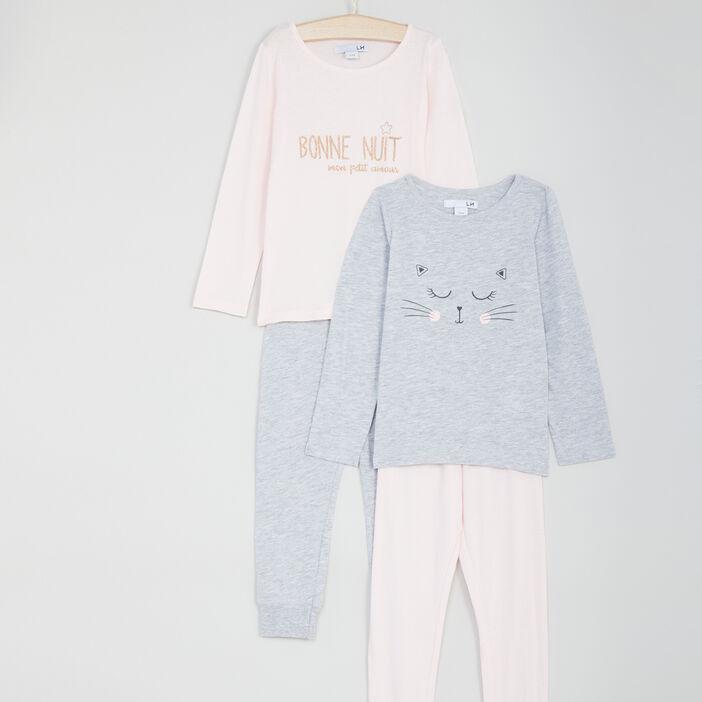 Lot de 2 pyjamas longs fille rose