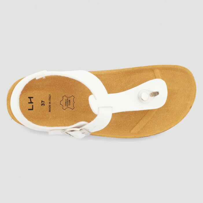 Sandales entre-doigt semelle liège femme blanc