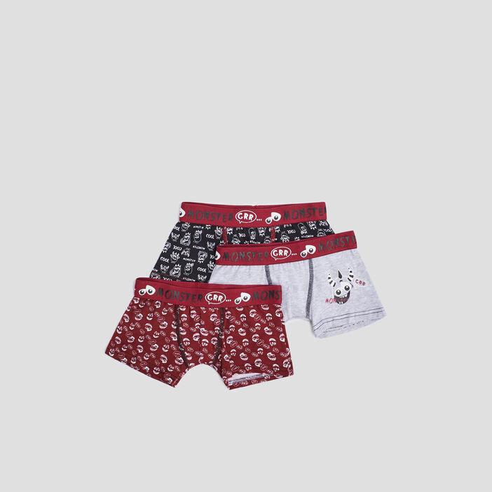 Lot 3 boxers garçon rouge