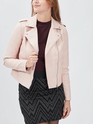 Veste simili cuir droite zippee rose clair femme