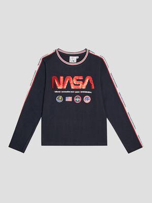 T shirt manches longues NASA bleu marine garcon