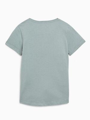 T shirt uni en coton vert clair fille