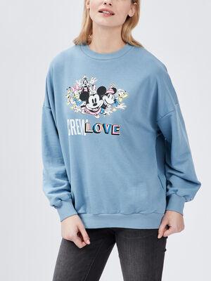 Sweat manches longues Disney bleu ciel femme