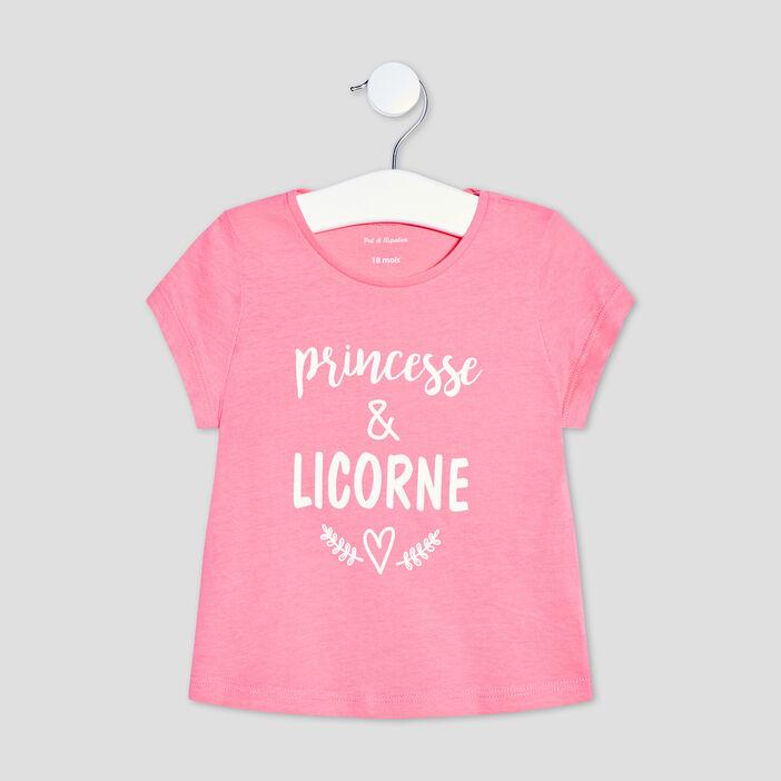 T-shirt manches courtes bébé fille rose fushia
