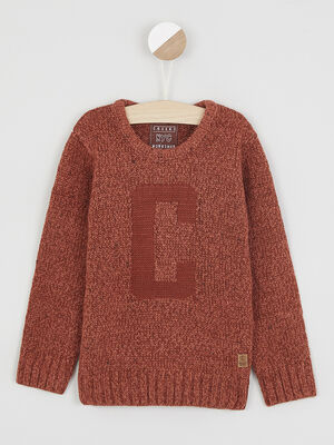 Pull col rond maille chinee orange fonce garcon
