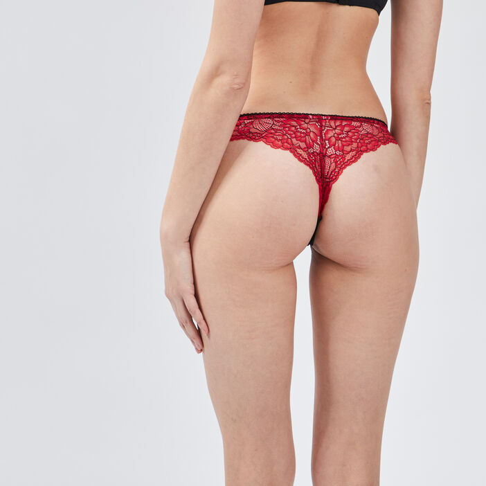Culotte tanga à dentelle femme rouge