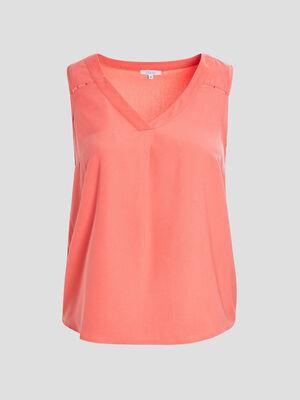 Chemise sans manches grandes tailles orange corail femmegt