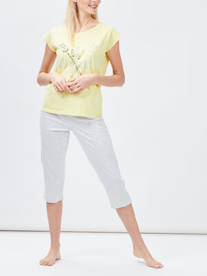 Ensemble pyjama 2 pieces jaune femme