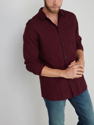 Chemise a carreaux en coton bordeaux homme