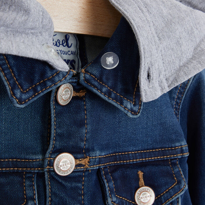 Veste en jean capuche amovible garçon denim stone