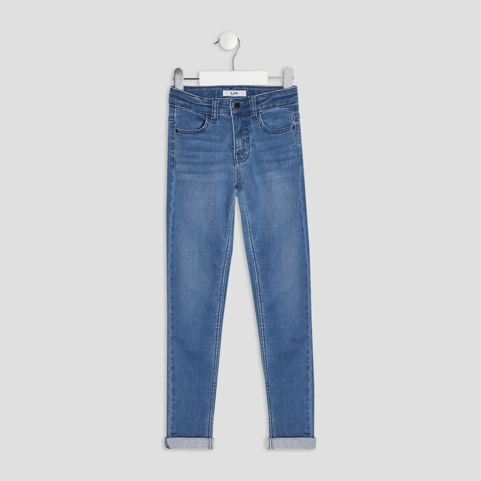 Jeans skinny taille ajustable fille denim double stone