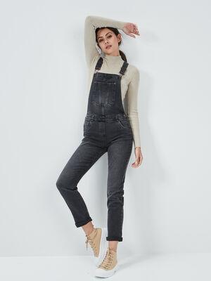 Combinaison pantalon en jean noir femme