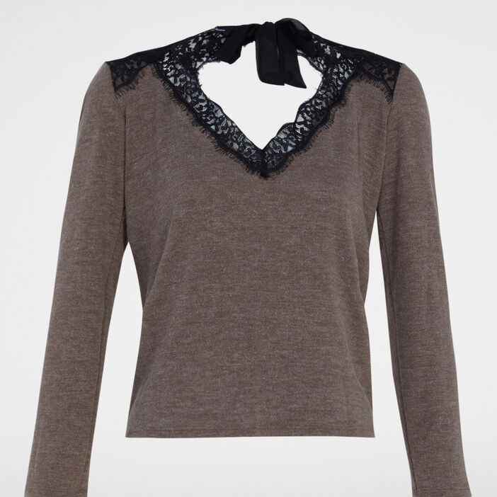Pull manches longues femme taupe