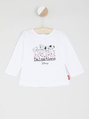 T shirt manches longues 101 Dalmatiens blanc fille