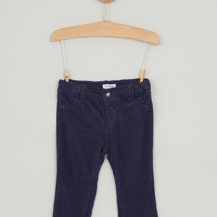 Pantalon uni en coton bébé garçon bleu marine