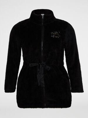 Veste pyjama zippee effet duveteux noir femme