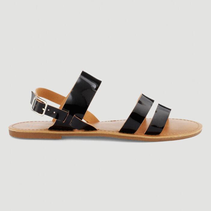 Sandales vernies à boucle femme noir