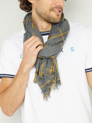 Foulard fin a carreaux gris mixte
