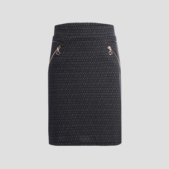 Jupe droite détails zippés femme gris foncé