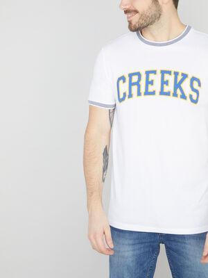 T shirt coton bords contrastants blanc homme