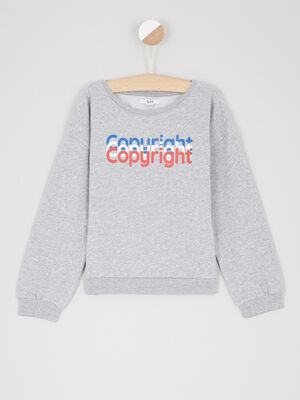 Sweatshirt avec inscription devant gris fille