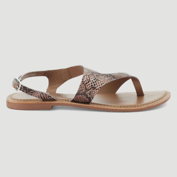 Sandales entredoigt unies en cuir femme beige
