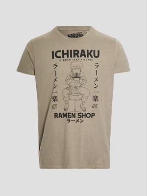 T shirt manches courtes Naruto vert kaki homme