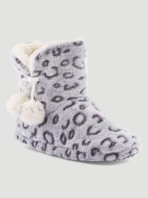 Chaussons montants imprime leopard gris femme
