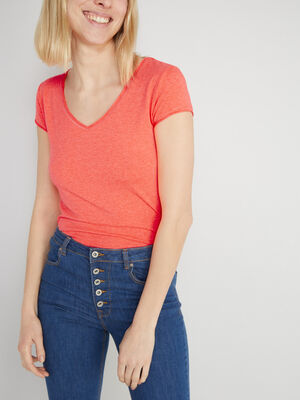 T shirt uni col rond orange corail femme