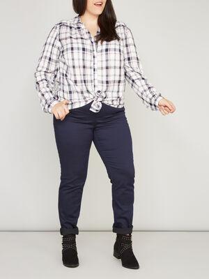Pantalon slim grande taille bleu marine femme