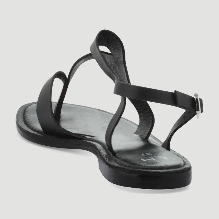 Sandales entredoigt unies en cuir femme noir
