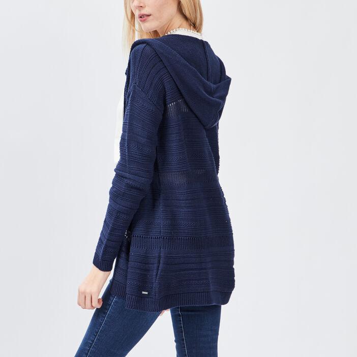 Gilet à capuche femme bleu marine