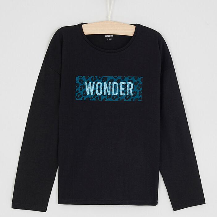 T-shirt col rond imprimé placé fille noir