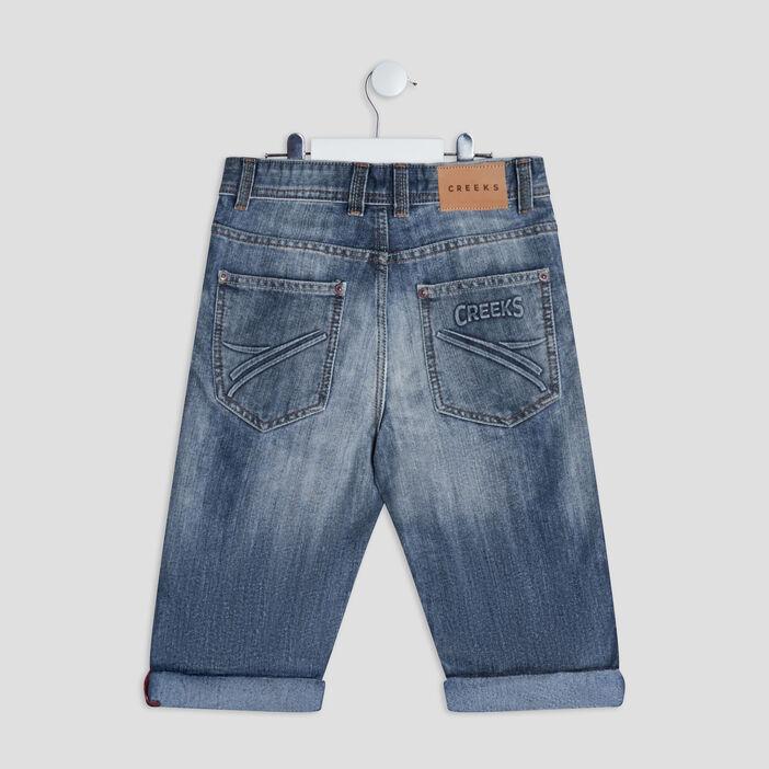 Bermuda slim en jean Creeks garçon denim bleach