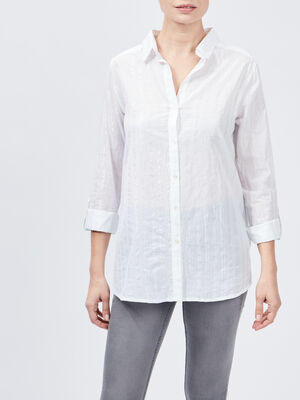 Chemise rayee coton manches ajustables blanc femme
