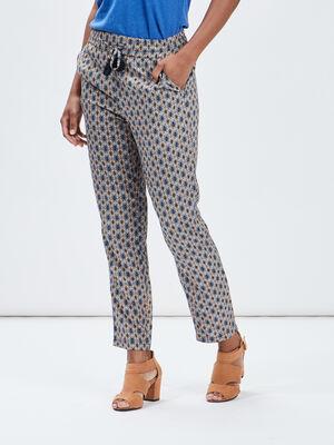 Pantalon droit fluide multicolore femme