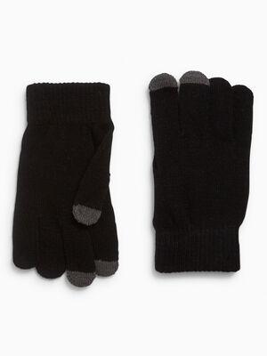 Gants bout des doigts tactile noir mixte