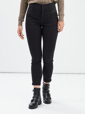 Pantalon skinny taille haute noir femme
